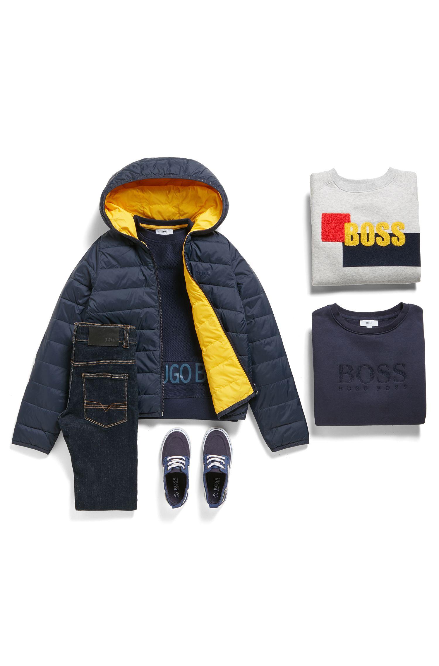 Kids-Sweatshirt aus Fleece mit transparentem Logo-Print, Dunkelblau
