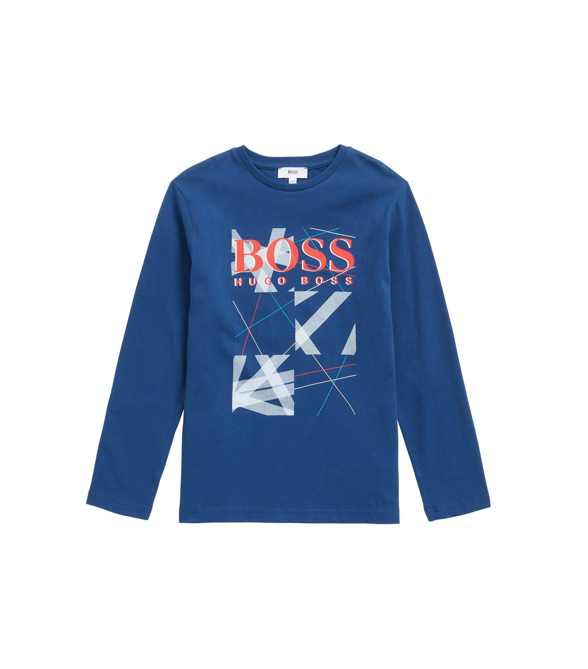 Kinder-T-shirt van katoen met lange mouwen en grafische logoprint, Blauw