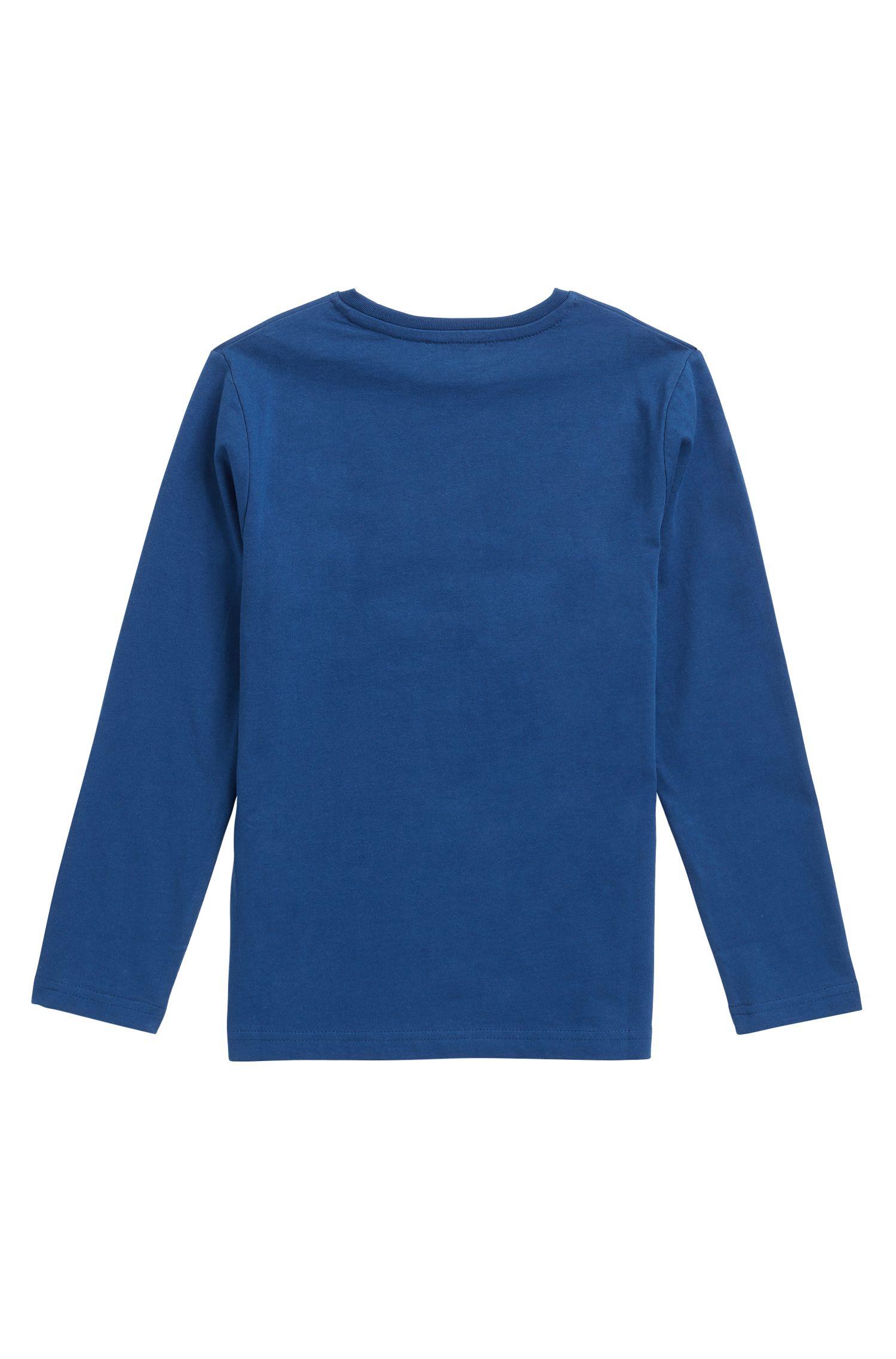 T-shirt en coton pour enfant à manches longues et logo graphique imprimé, Bleu