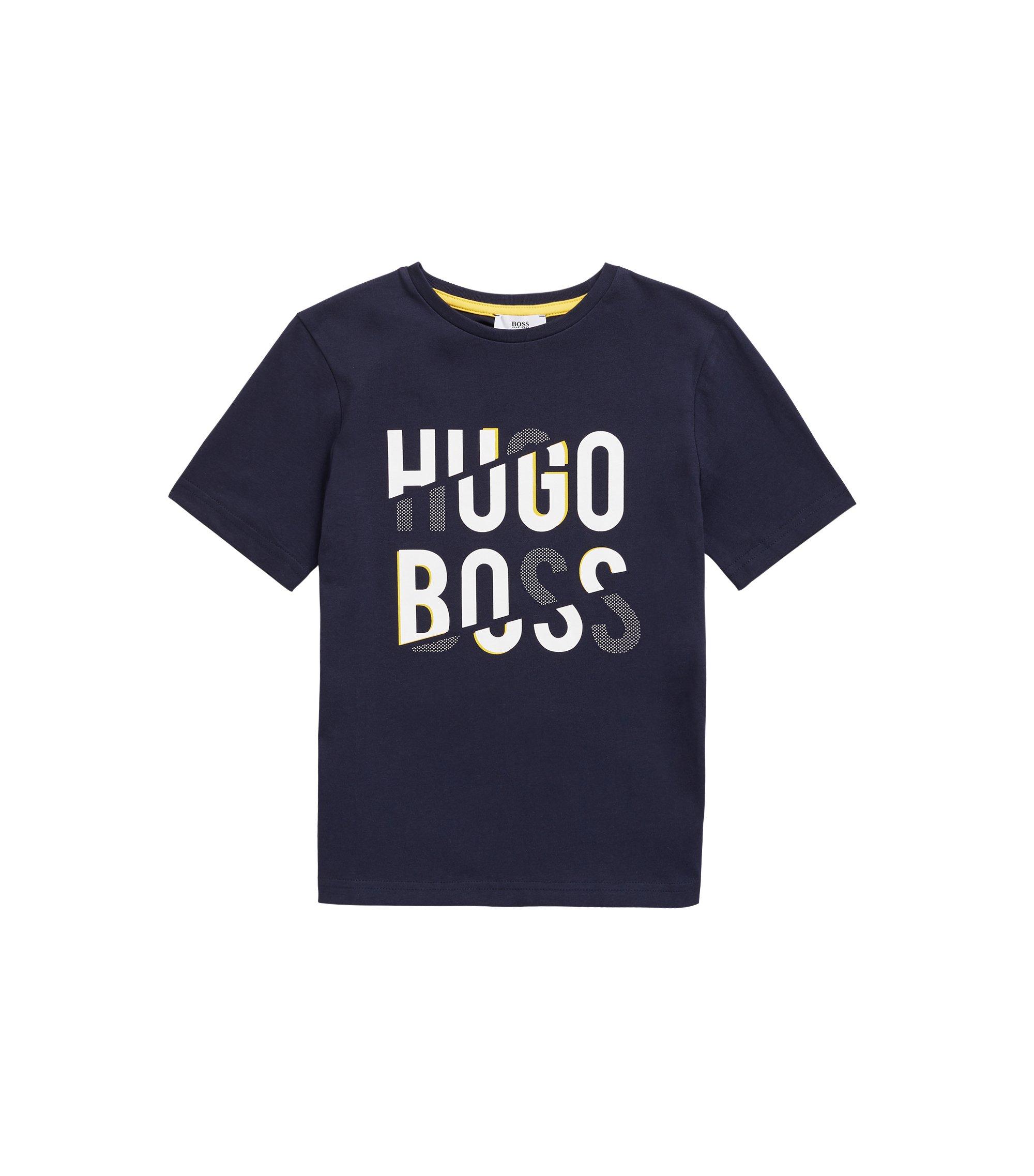Kinder-T-shirt van katoenen jersey met logoprint, Donkerblauw