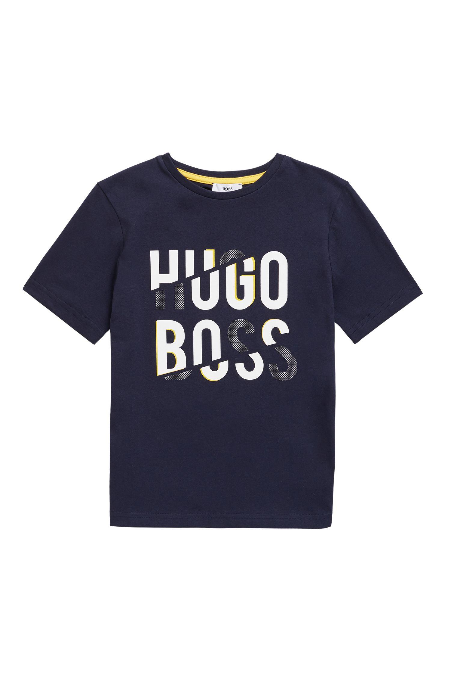 T-shirt pour enfant en jersey de coton à logo imprimé, Bleu foncé