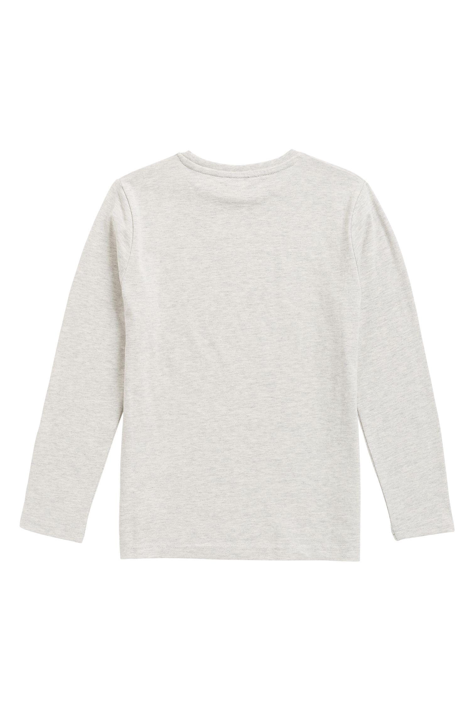 T-shirt pour enfant à manches longues et logo color block imprimé, Gris chiné
