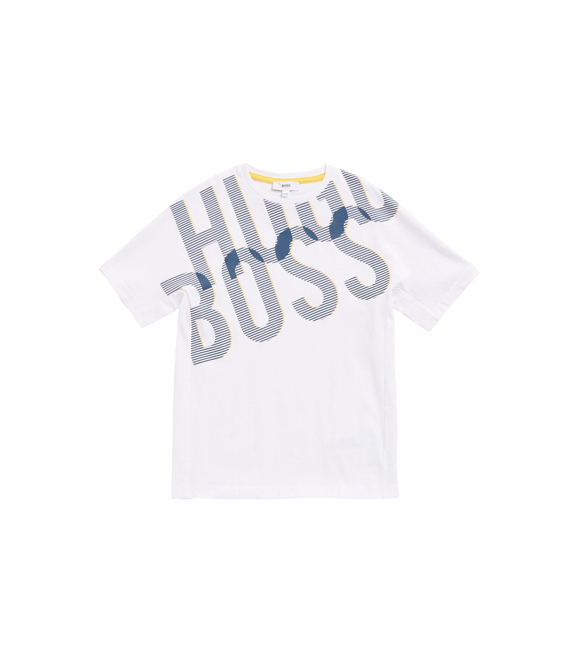 Regular-fit kinder-T-shirt met een dichtbedrukte logoprint, Wit