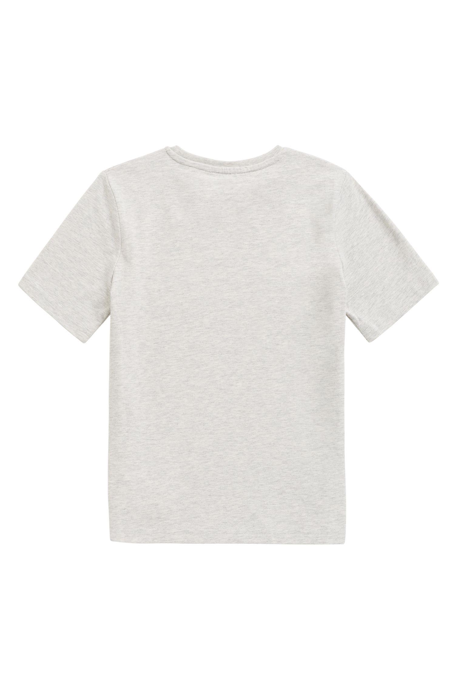 T-shirt en coton pour enfant à imprimé course automobile en édition limitée, Gris chiné