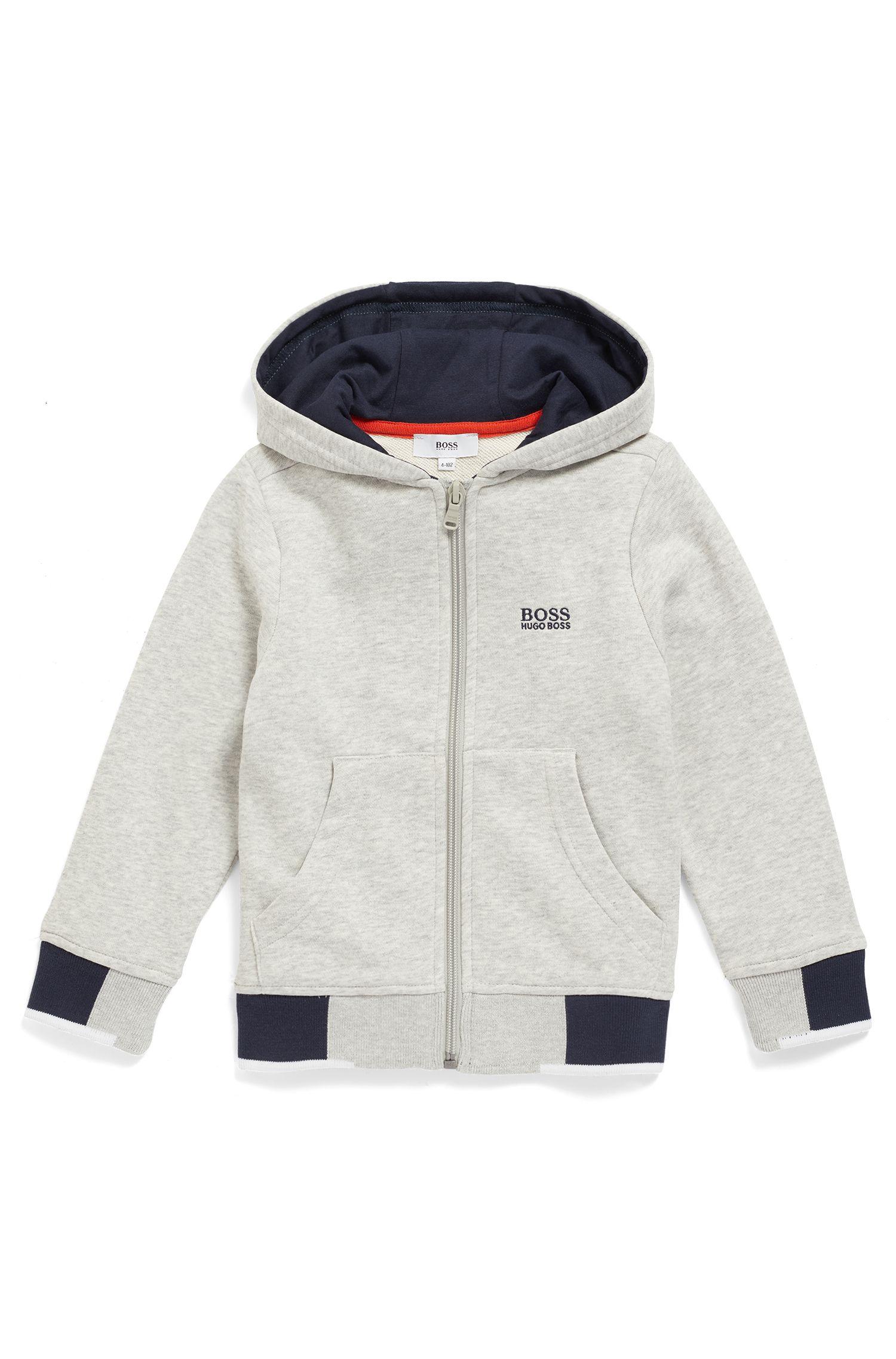 Kids' zip-through loungewear jacket with logo-print hood, Light Grey