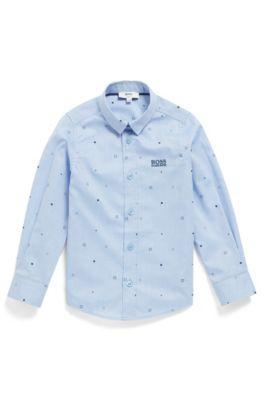 Slim-fit overhemd voor kinderen, van katoen met print, Lichtblauw