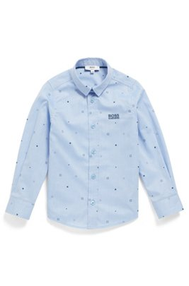 Kids' slim-fit shirt in printed cotton, Light Blue