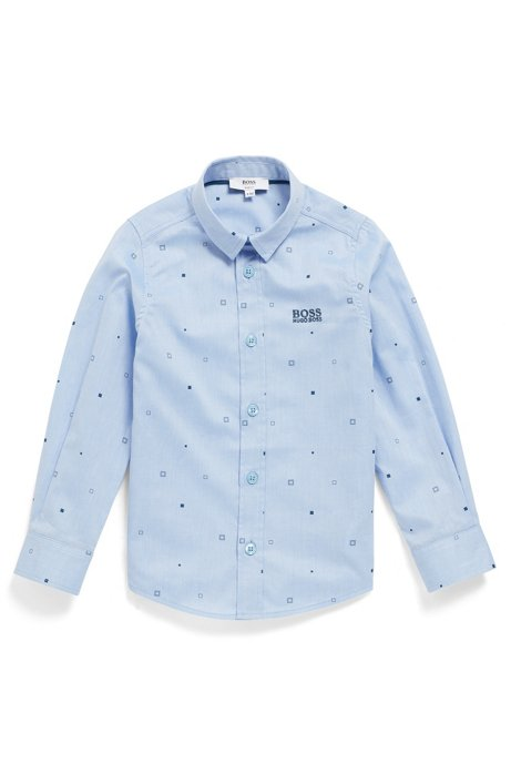 Slim-Fit Kids-Hemd aus bedruckter Baumwolle, Hellblau