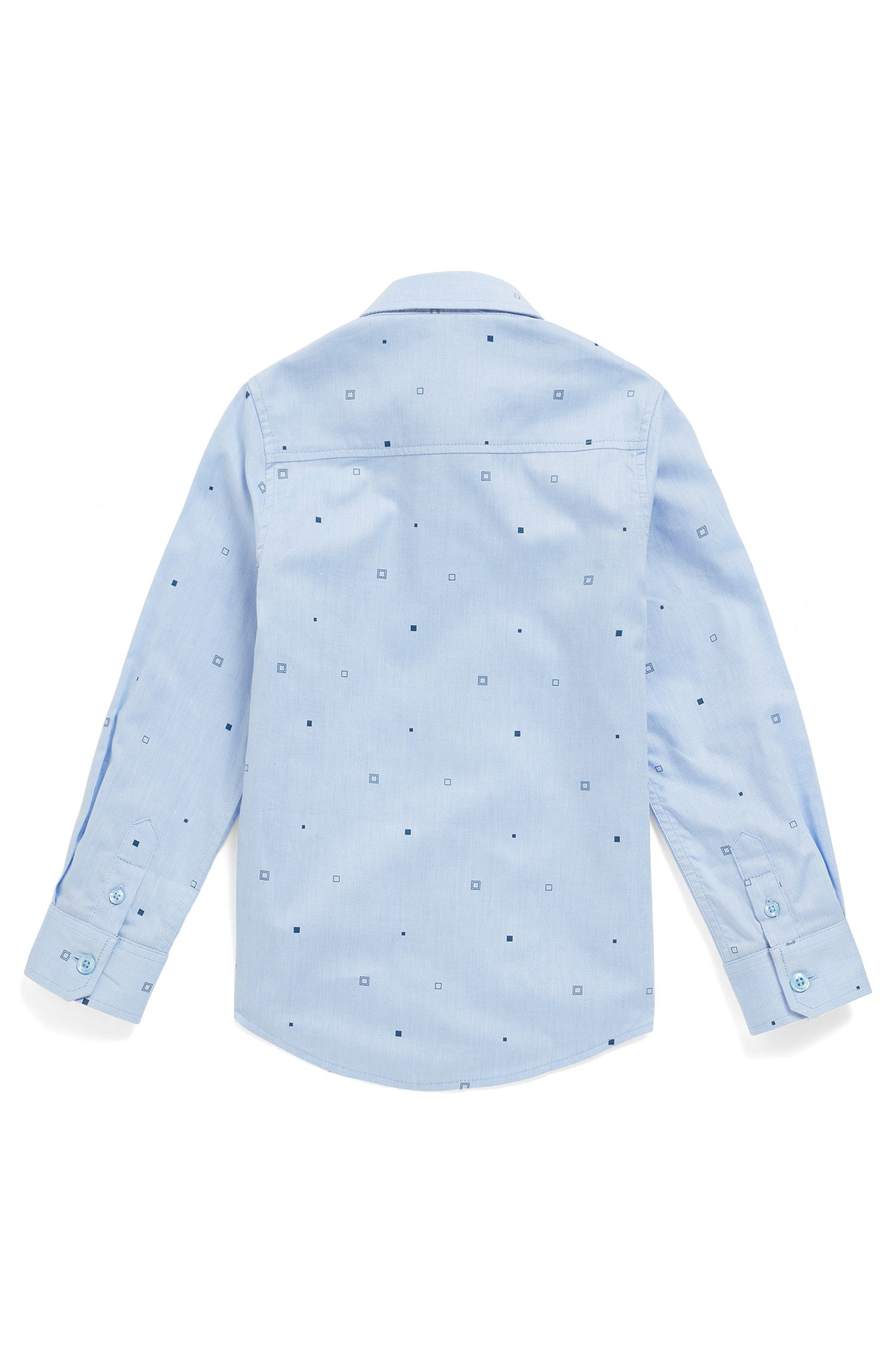 Kids' slim-fit shirt in printed cotton, Light Blue