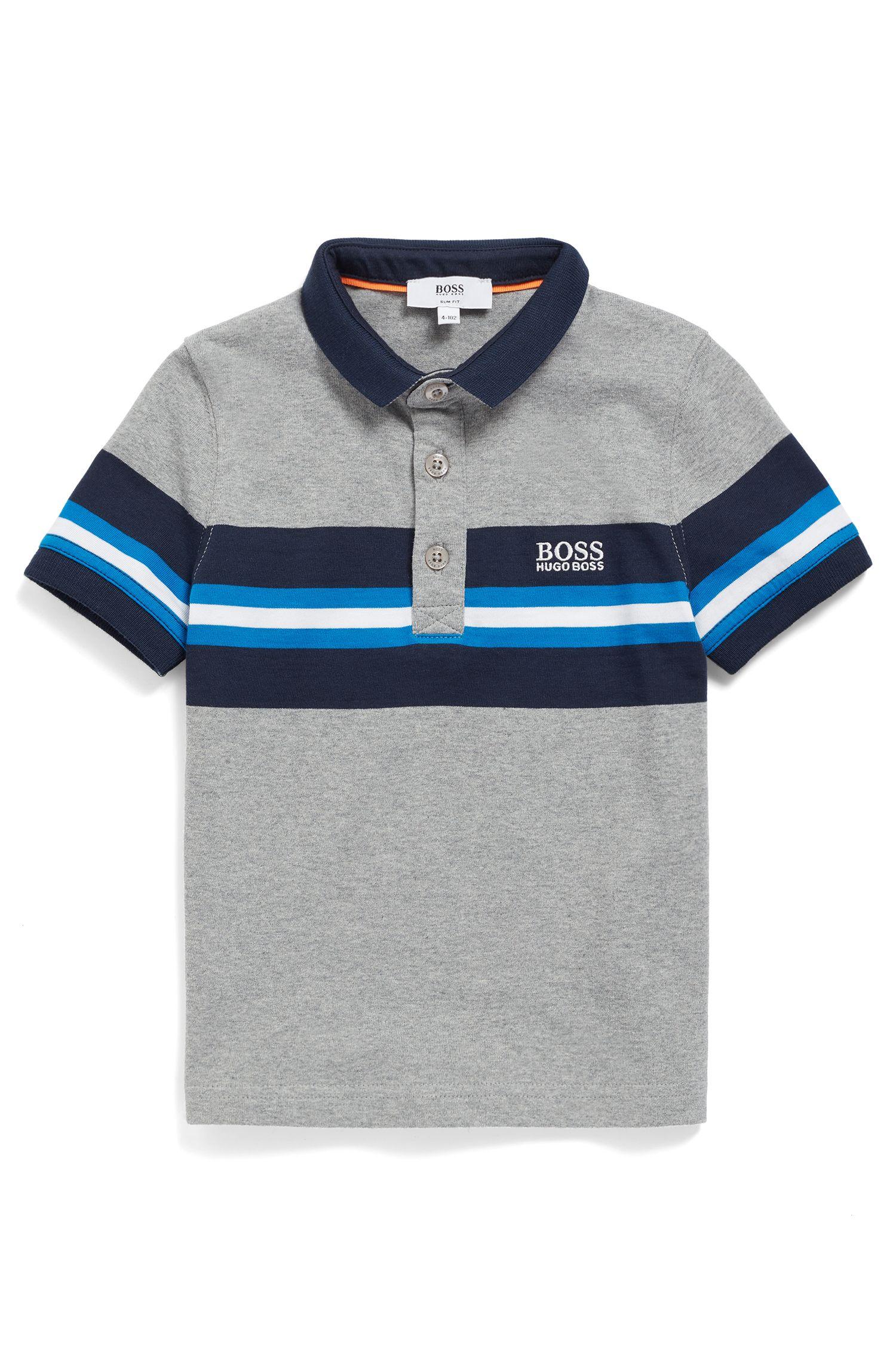 Kids-Poloshirt aus melierter Baumwolle mit gestreiftem Einsatz, Gemustert