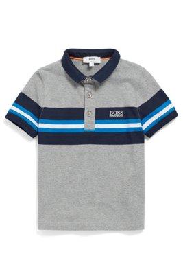 Polo pour enfant en coton chiné, avec panneau à rayures, Fantaisie