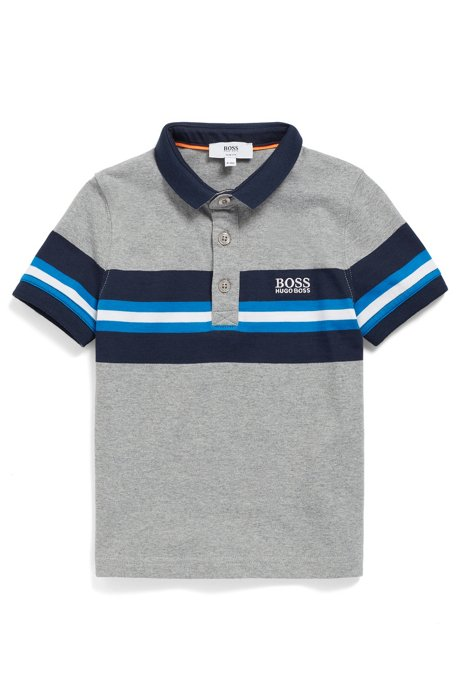 Kids' polo shirt in melange cotton with striped panel, Patterned
