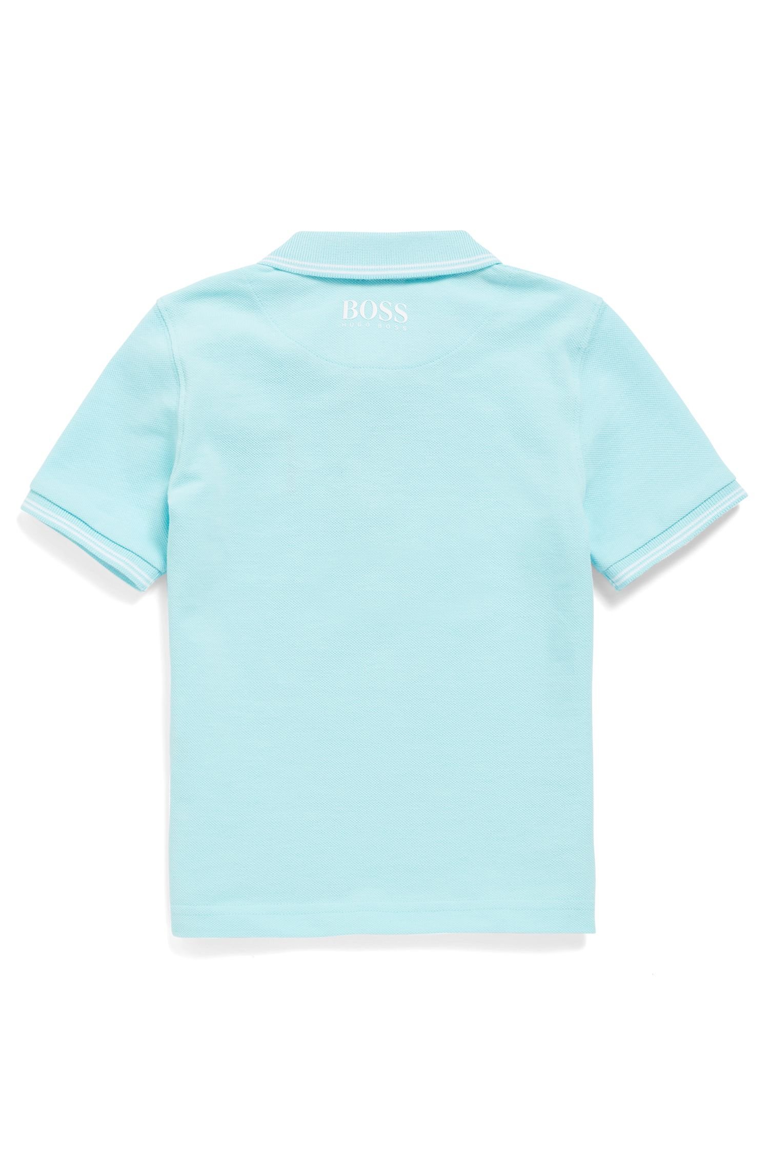 Kids' polo shirt with embroidered logo badge, Light Blue