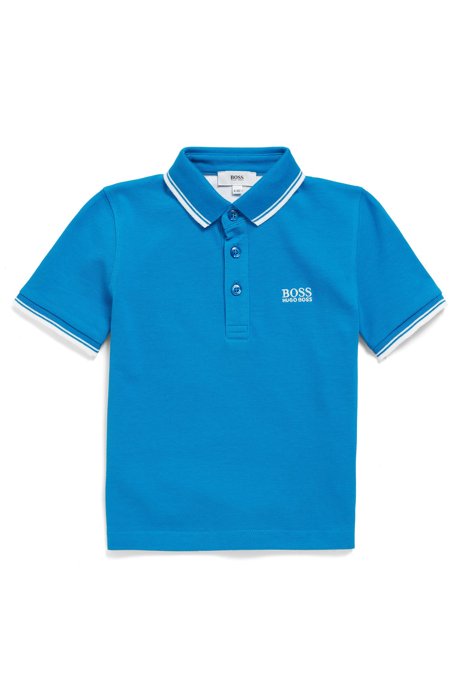 Kids' cotton polo shirt with logo embroidery, Blue