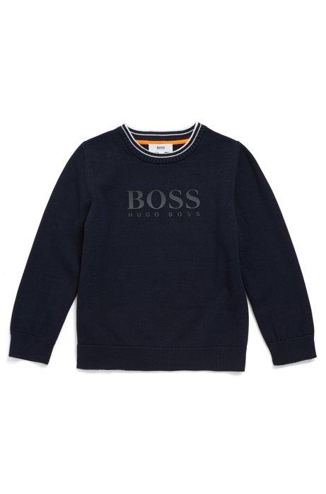 Pull pour enfant en coton peigné à logo bicolore, Bleu foncé