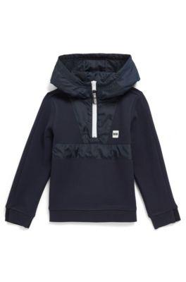 Felpa da bambino in jersey con cappuccio, mezza zip e finitura con logo, Blu scuro