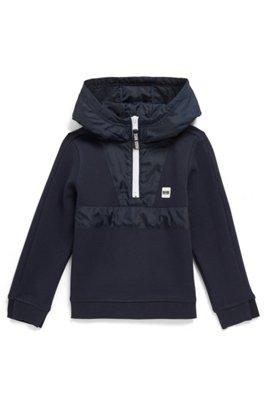 Kids' half-zip jersey hoodie with logo trim, Dark Blue