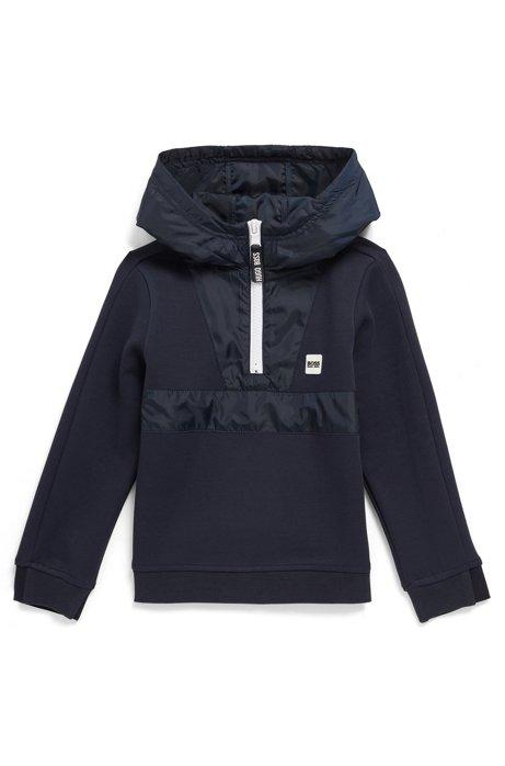 Kindersweater met capuchon, halve rits en logogarneersel, Donkerblauw