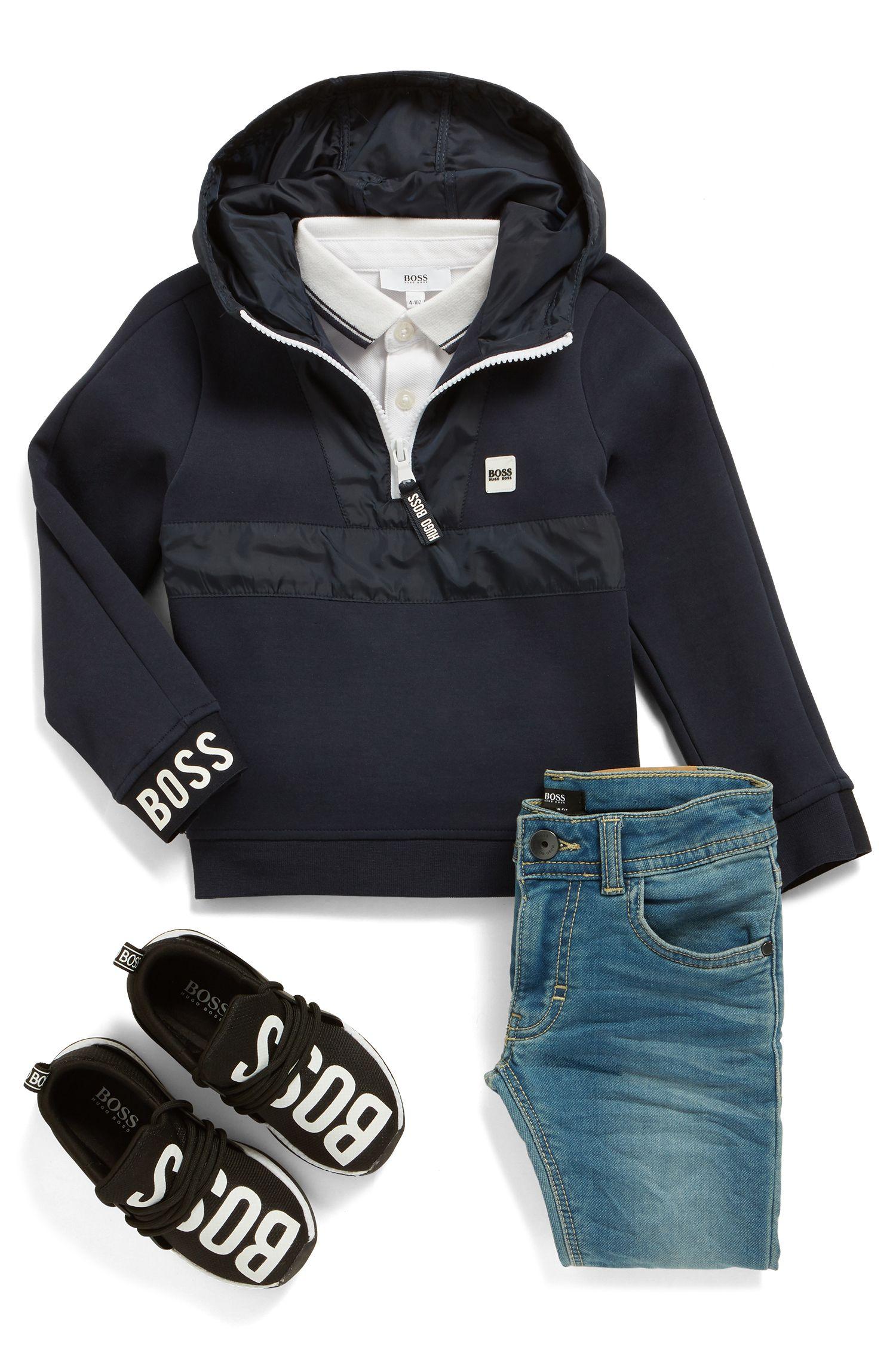 Kids-Hoodie aus Jersey mit halbem Reißverschluss und Logo-Details, Dunkelblau