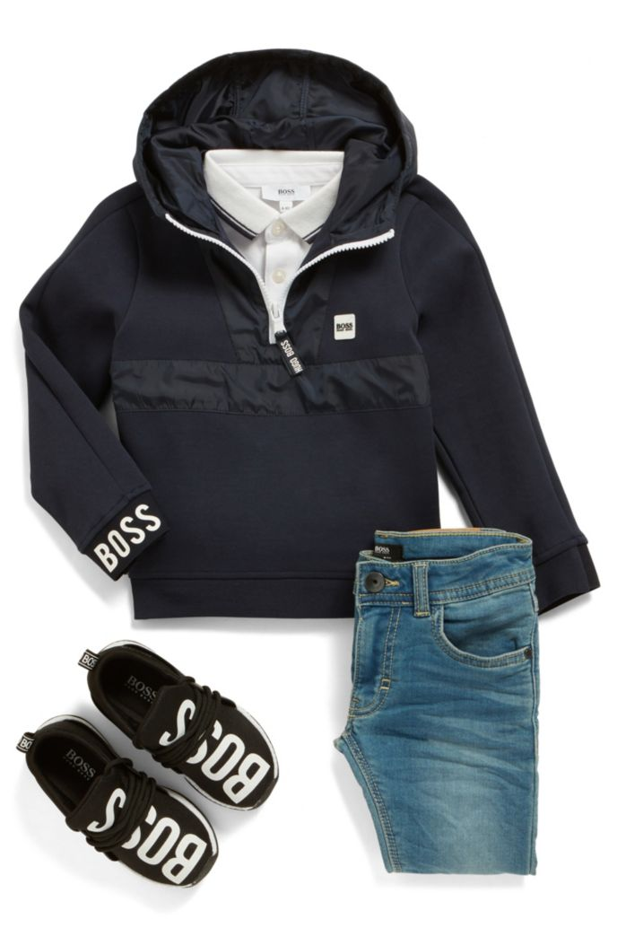 Kids' half-zip jersey hoodie with logo trim
