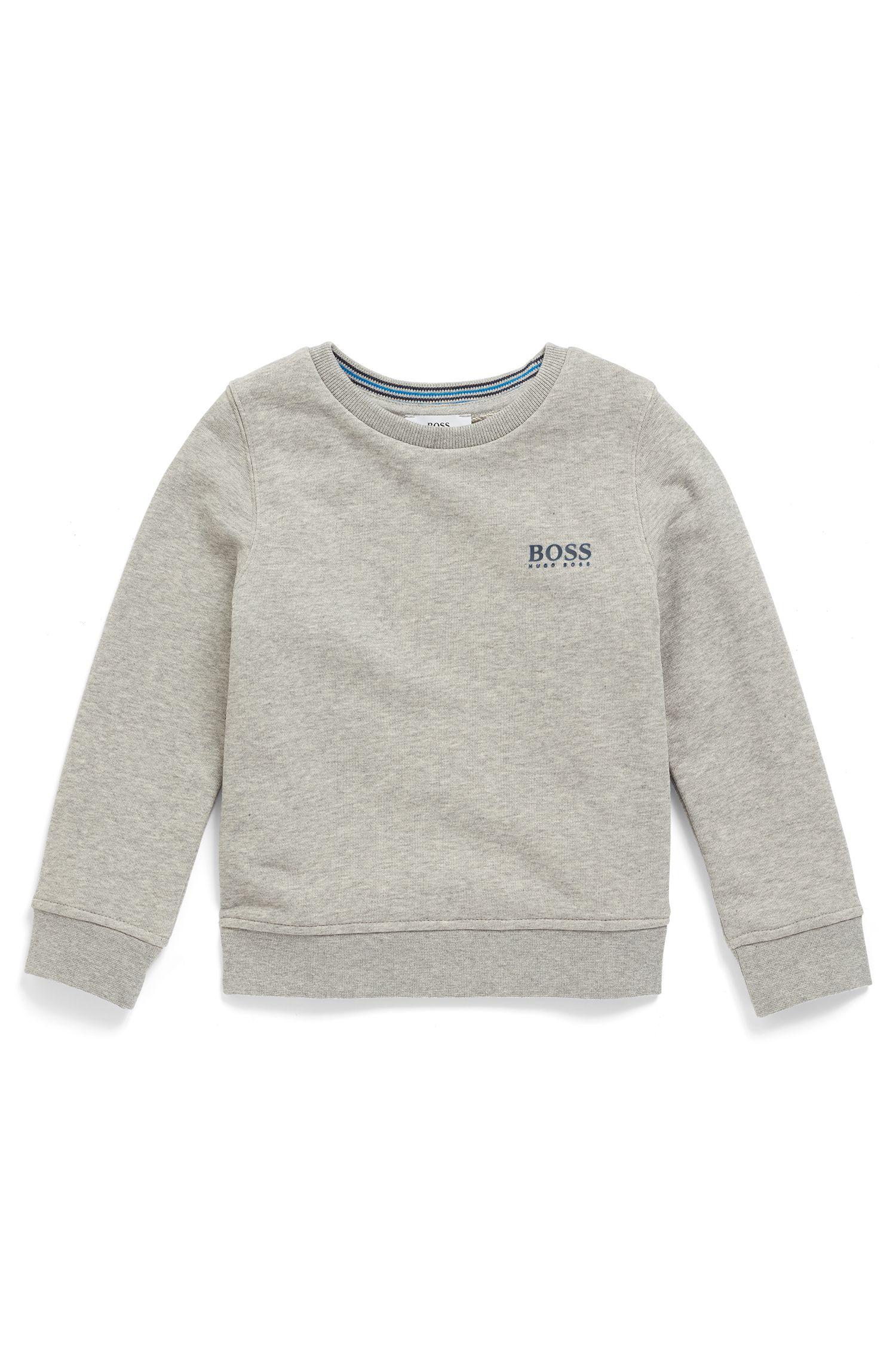 Kids-Sweatshirt aus French Terry mit erhöhtem Logo-Print, Hellgrau
