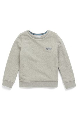 Kids' French terry sweatshirt with raised logo print, Light Grey