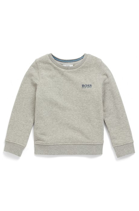 Kids' French terry sweatshirt with raised logo print, Light Grey