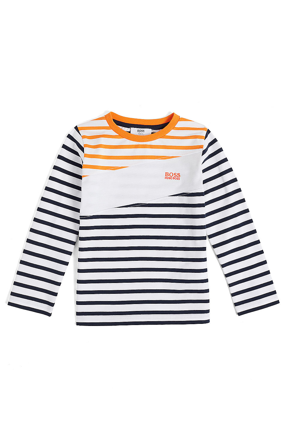 84116732bf BOSS - Kids' long-sleeved T-shirt with stripes and asymmetric block