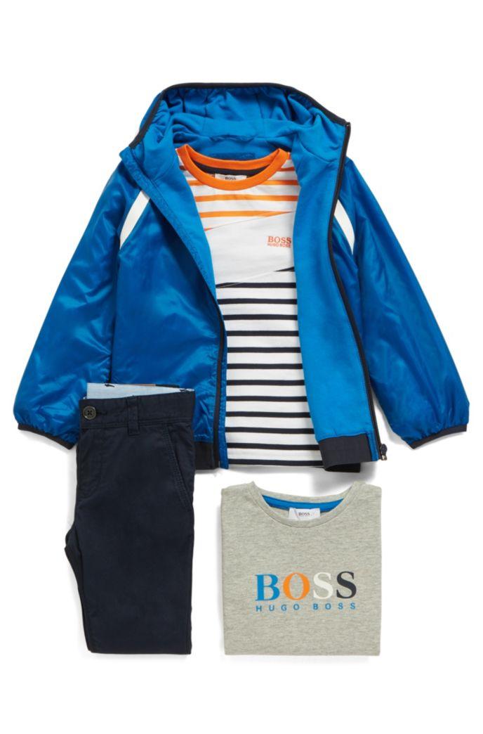 T-shirt à manches longues pour enfant, à rayures et grosse rayure asymétrique