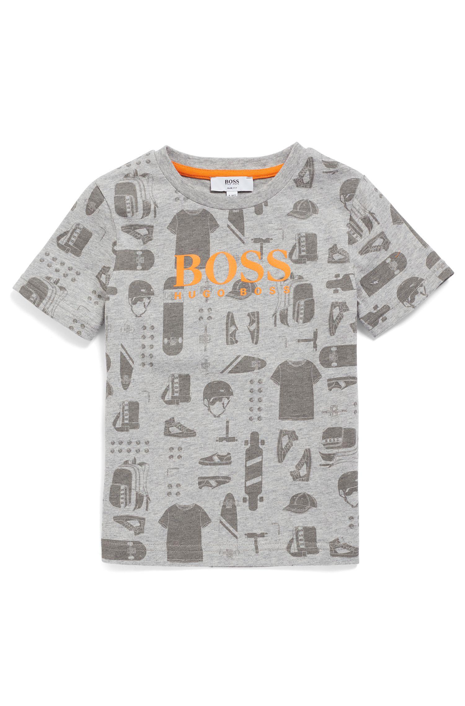 T-shirt da bambino in cotone con stampa all-over, Grigio chiaro