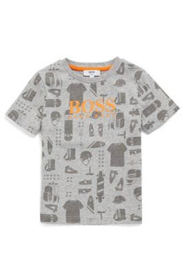 Kids' T-shirt in cotton with all-over printed artwork, Light Grey