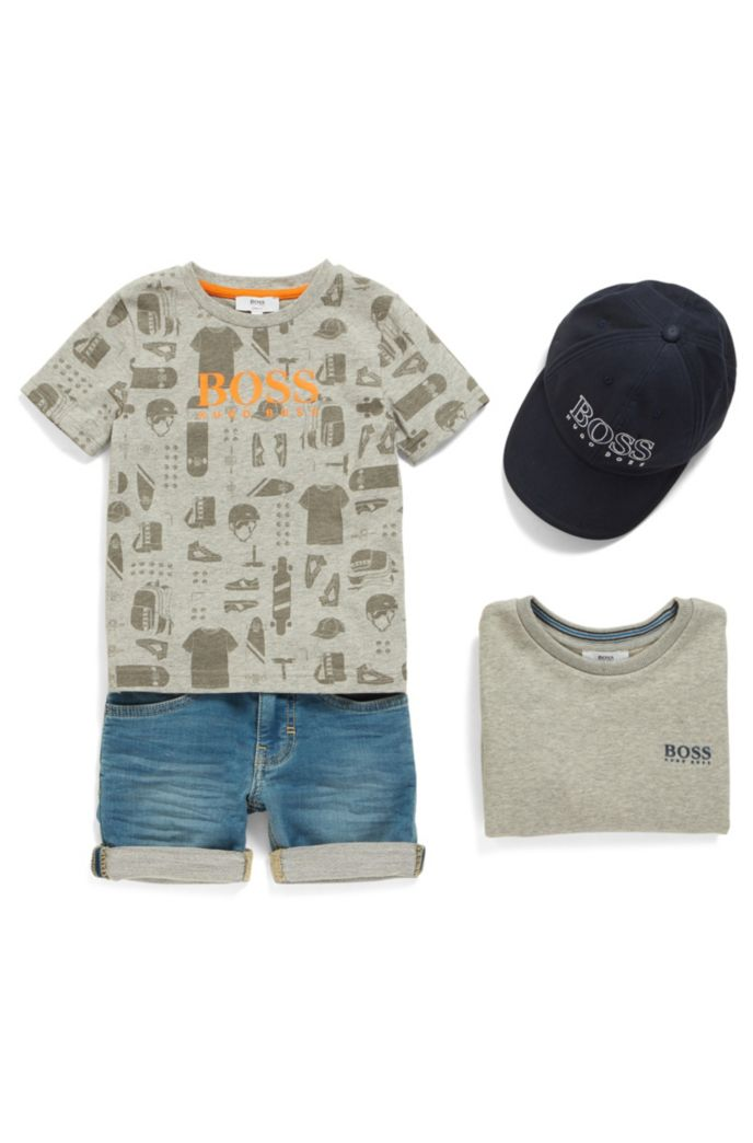 Kids' T-shirt in cotton with all-over printed artwork
