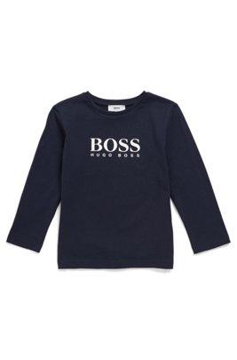 Kids' long-sleeved T-shirt with high-density logo print, Dark Blue