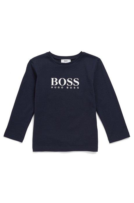 T-shirt pour enfant à manches longues et logo imprimé à haute densité, Bleu foncé