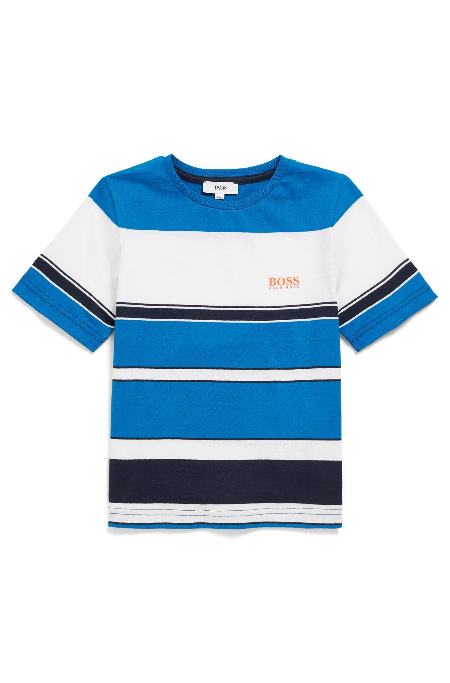 T-shirt pour enfant en pur coton, à grosses rayures, Fantaisie