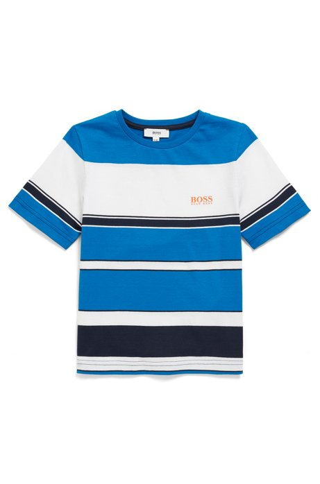 Kids' T-shirt in pure cotton with block stripes, Patterned