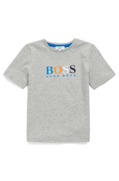 Kinder-T-shirt van zuivere katoen met meerkleurige logoprint, Grijs