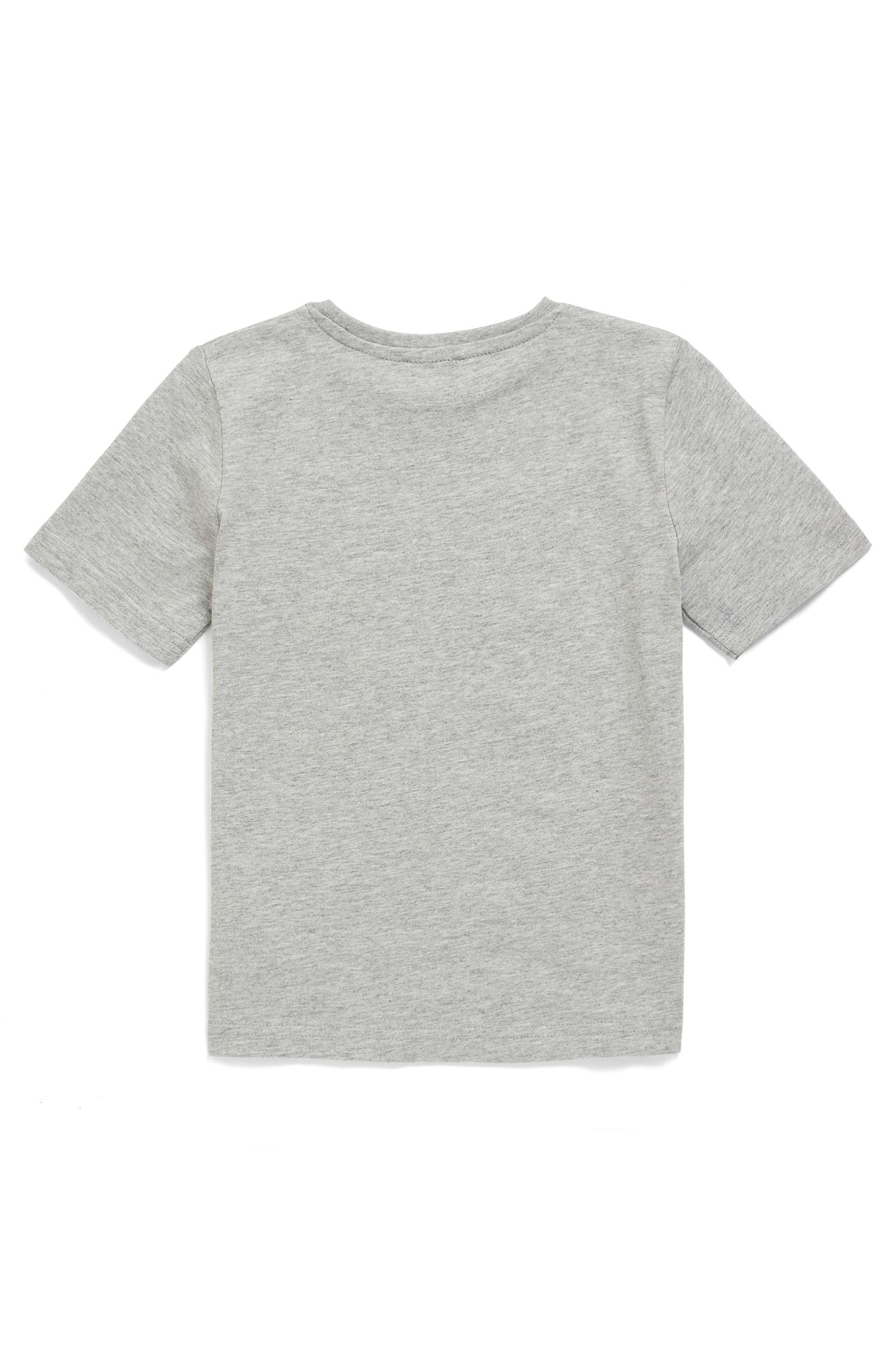 Kids' T-shirt in pure cotton with multicoloured logo print, Grey