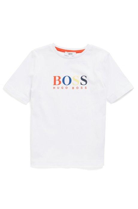 Kids-T-Shirt aus Baumwolle mit mehrfarbigem Logo-Print, Weiß