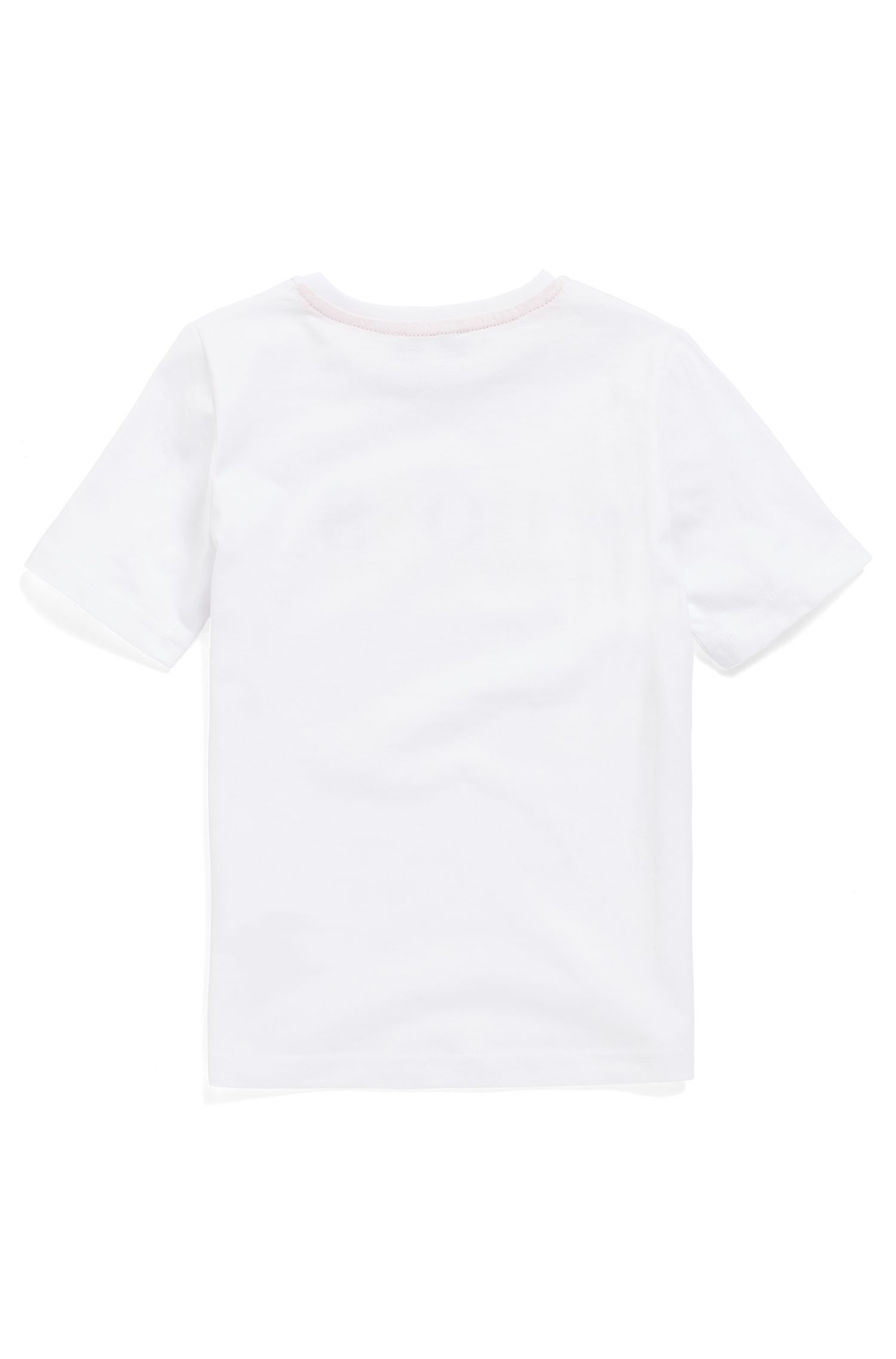 Kids' T-shirt in pure cotton with multicoloured logo print, White