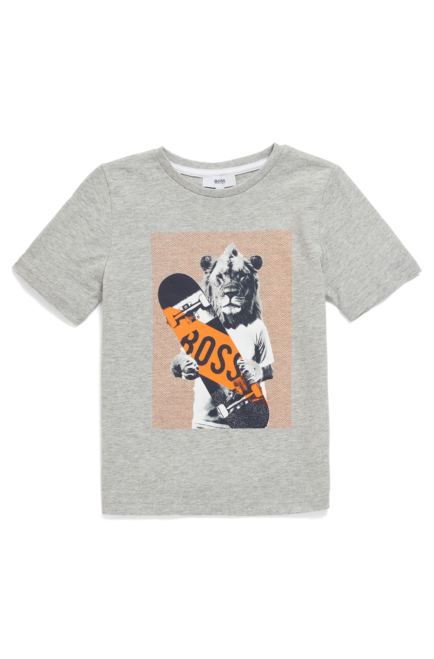 Kids' T-shirt in pure cotton with animal artwork, Patterned
