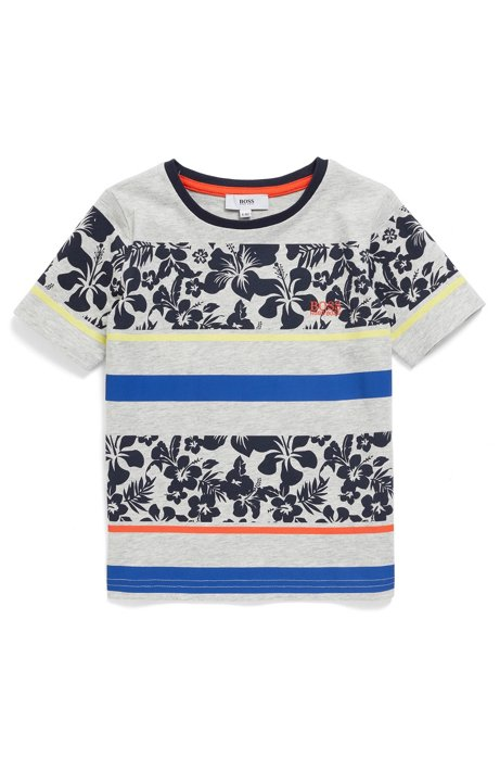 Kinder-T-shirt van katoen met een hibiscusprint en strepen, Lichtgrijs