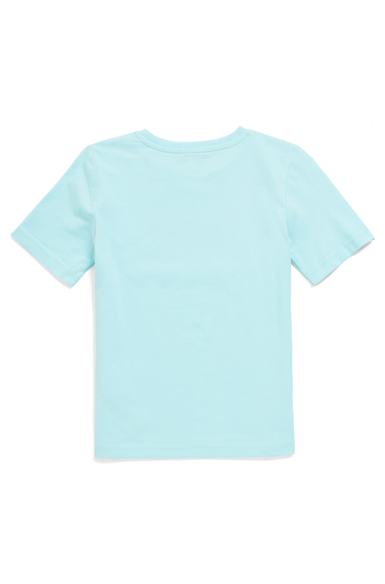 Kids' short-sleeved T-shirt in cotton with logo print, Light Blue