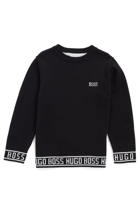 Kids' knitted sweater in combed cotton with logo hemline, Black