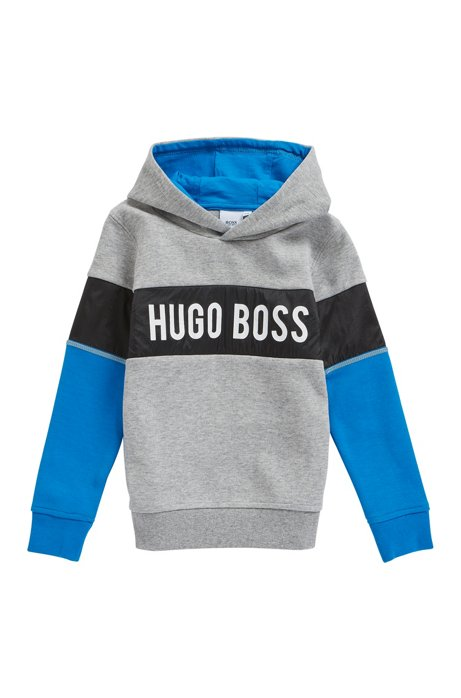Kids' hooded sweatshirt with colour-block logo, Grey