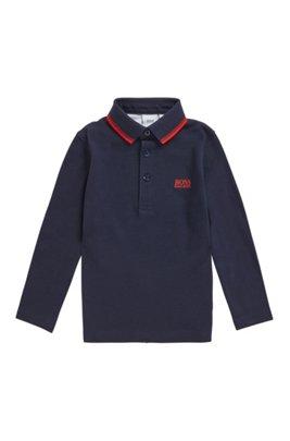 Kids-Longsleeve-Poloshirt mit Logo-Details, Dunkelblau
