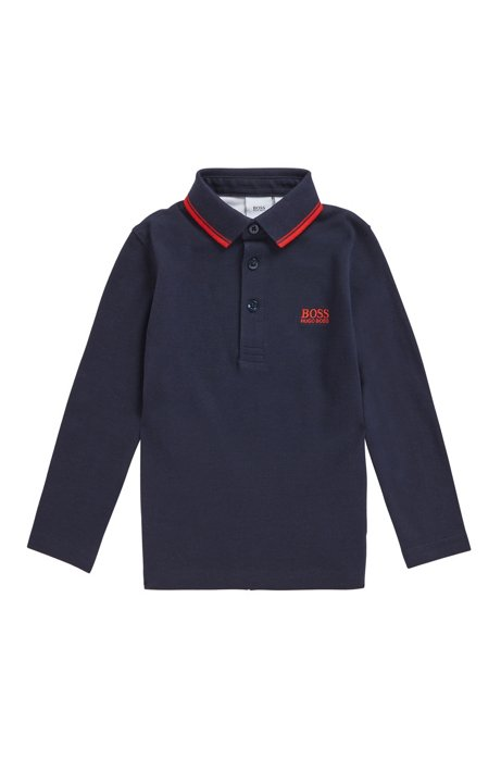 Kids' long-sleeved polo shirt with logo detailing, Dark Blue