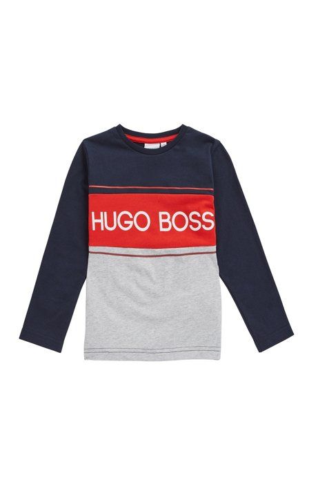 Kids' long-sleeved logo T-shirt in colour-block cotton, Dark Blue