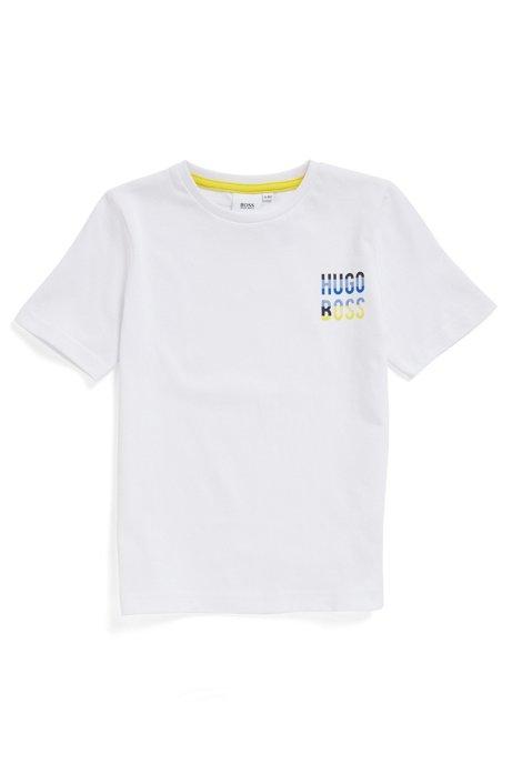 T-shirt en pur coton pour enfant avec logo coloré, Blanc