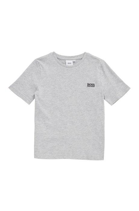 Kids-T-Shirt aus reiner Baumwolle mit Logo-Stickerei, Hellgrau